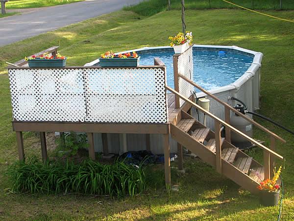 Plateforme en bois pour piscine hors sol prix terrasse for Prix piscine carrelee