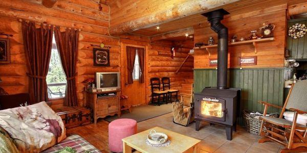 Salon avec poêle à bois - Chalet Refuge