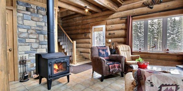 Salon avec poêle à bois - Chalet Raton-Laveur