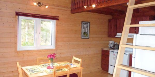 Rez-de-chaussée du chalet # 3: cuisine toute équipée, salle à manger et salon à aire ouverte