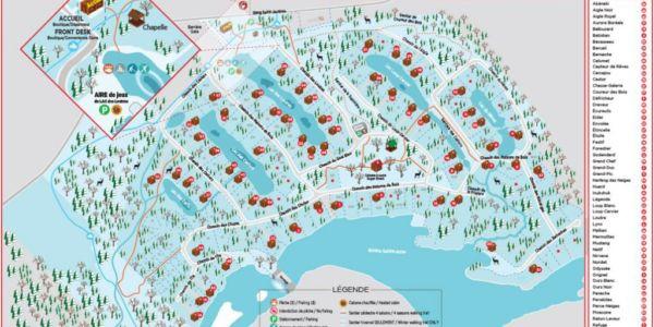 Carte du village touristique de chalets en bois rond
