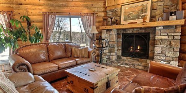 Salon avec foyer au gaz - Chalet Nirvana