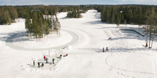 Anneau de glace et patinoire pour hockey - Au Chalet en Bois Rond
